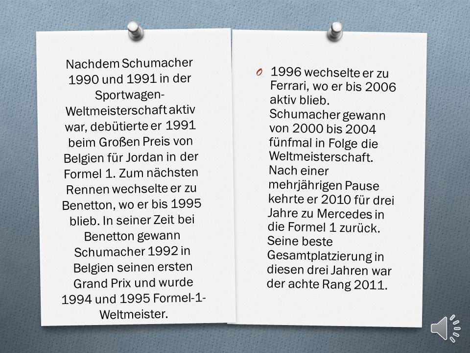 Schumacher startete von 1991 bis 2012 zu 307 Großen Preisen der Formel-1- Weltmeisterschaft. Mit sieben Weltmeistertiteln, 91 Siegen, 68 Pole- Positio