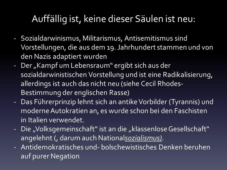 Auffällig ist, keine dieser Säulen ist neu: -Sozialdarwinismus, Militarismus, Antisemitismus sind Vorstellungen, die aus dem 19. Jahrhundert stammen u