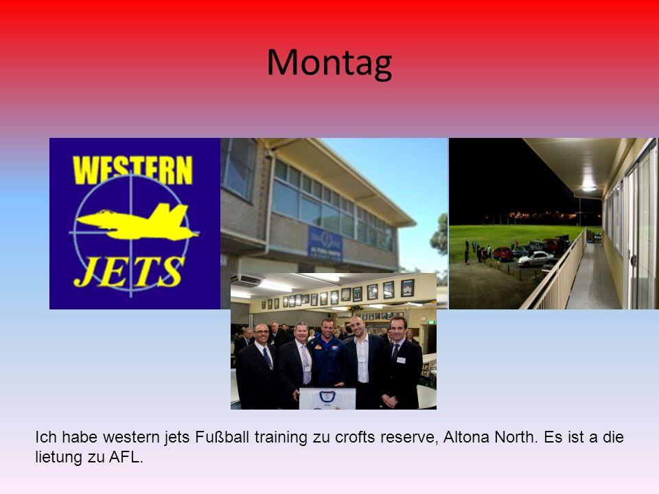 Montag Ich habe western jets Fußball training zu crofts reserve, Altona North.