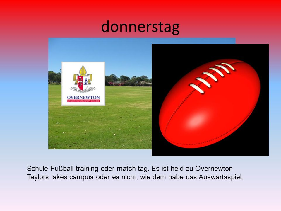 donnerstag Schule Fußball training oder match tag.