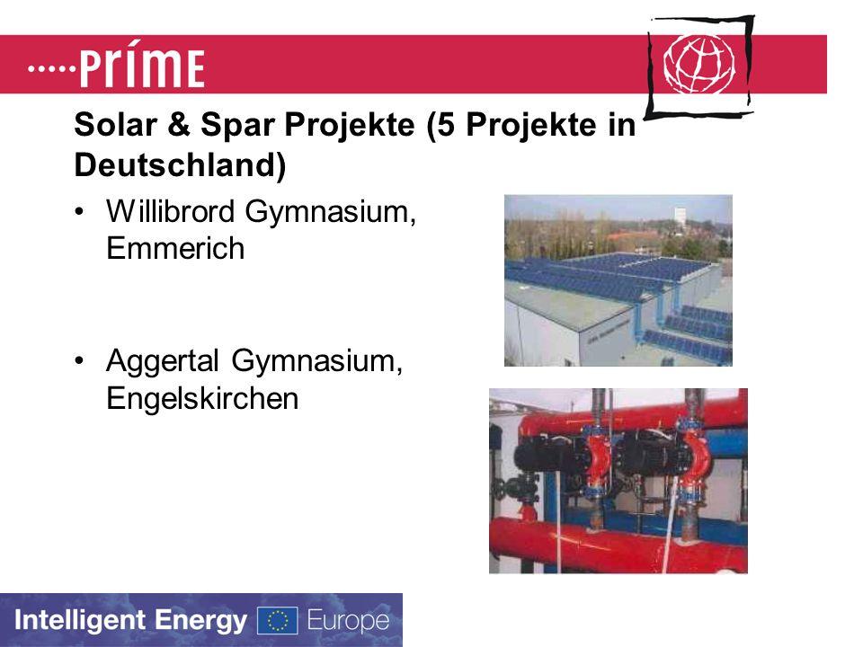 Solar & Spar Projekte (5 Projekte in Deutschland) Willibrord Gymnasium, Emmerich Aggertal Gymnasium, Engelskirchen