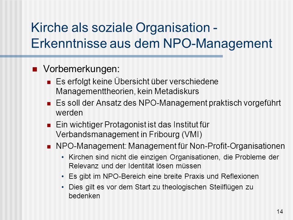 14 Kirche als soziale Organisation - Erkenntnisse aus dem NPO-Management Vorbemerkungen: Es erfolgt keine Übersicht über verschiedene Managementtheori