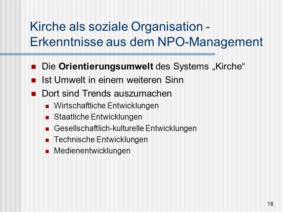 16 Kirche als soziale Organisation - Erkenntnisse aus dem NPO-Management Die Orientierungsumwelt des Systems Kirche Ist Umwelt in einem weiteren Sinn