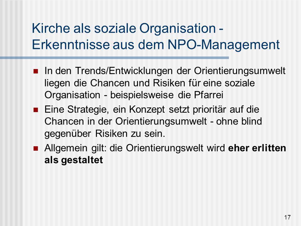 17 Kirche als soziale Organisation - Erkenntnisse aus dem NPO-Management In den Trends/Entwicklungen der Orientierungsumwelt liegen die Chancen und Ri