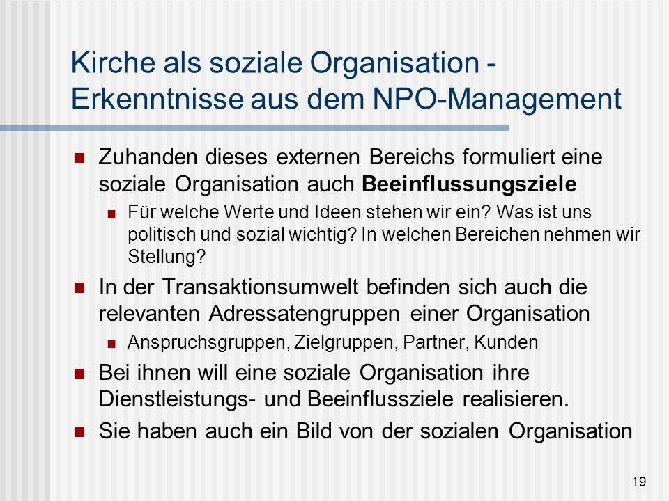 19 Kirche als soziale Organisation - Erkenntnisse aus dem NPO-Management Zuhanden dieses externen Bereichs formuliert eine soziale Organisation auch B