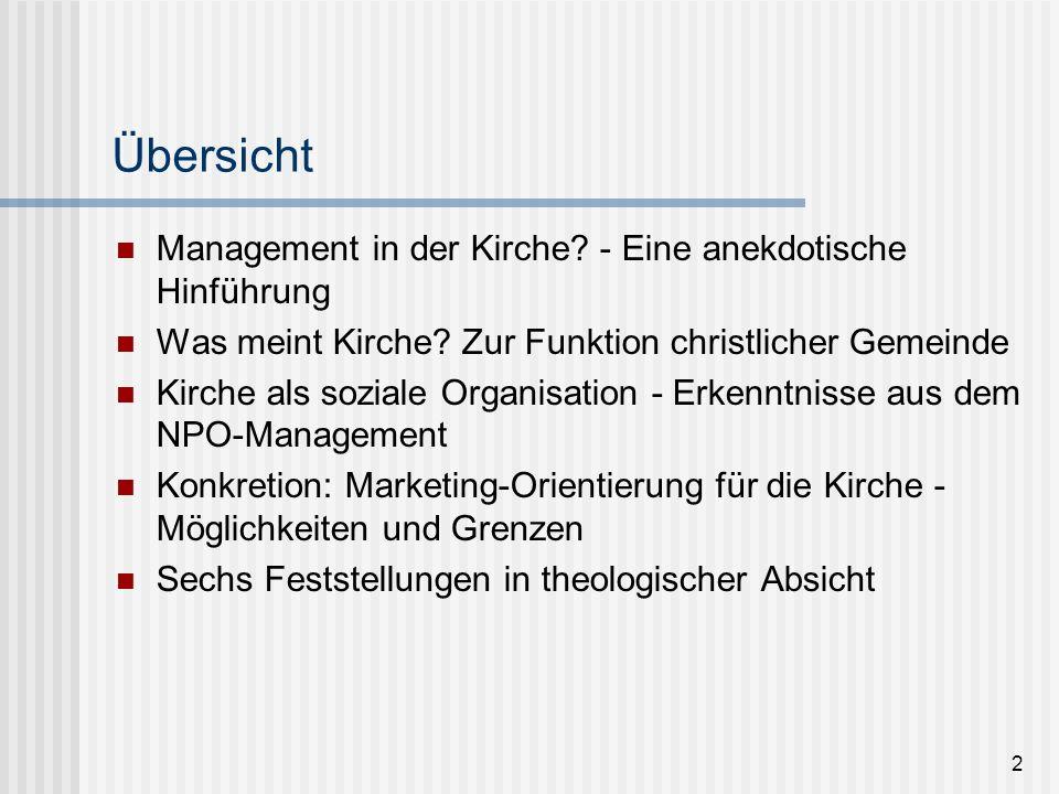 23 Kirche als soziale Organisation - Erkenntnisse aus dem NPO-Management Jede Organisation hat nicht nur ein externes Umfeld, sondern auch eine interne Struktur Das heisst: eine Aufbauorganisation (Bereiche und Verantwortlichkeiten) Sie verfügt über Abläufe - z.B.