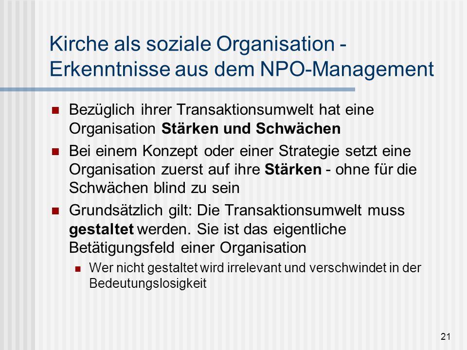 21 Kirche als soziale Organisation - Erkenntnisse aus dem NPO-Management Bezüglich ihrer Transaktionsumwelt hat eine Organisation Stärken und Schwäche