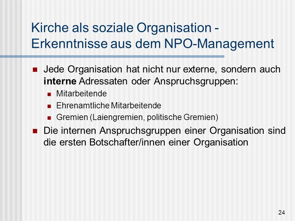 24 Kirche als soziale Organisation - Erkenntnisse aus dem NPO-Management Jede Organisation hat nicht nur externe, sondern auch interne Adressaten oder
