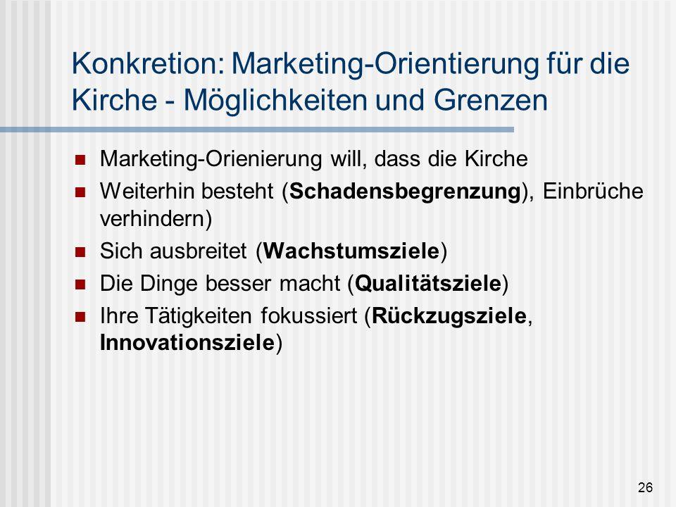 26 Konkretion: Marketing-Orientierung für die Kirche - Möglichkeiten und Grenzen Marketing-Orienierung will, dass die Kirche Weiterhin besteht (Schade