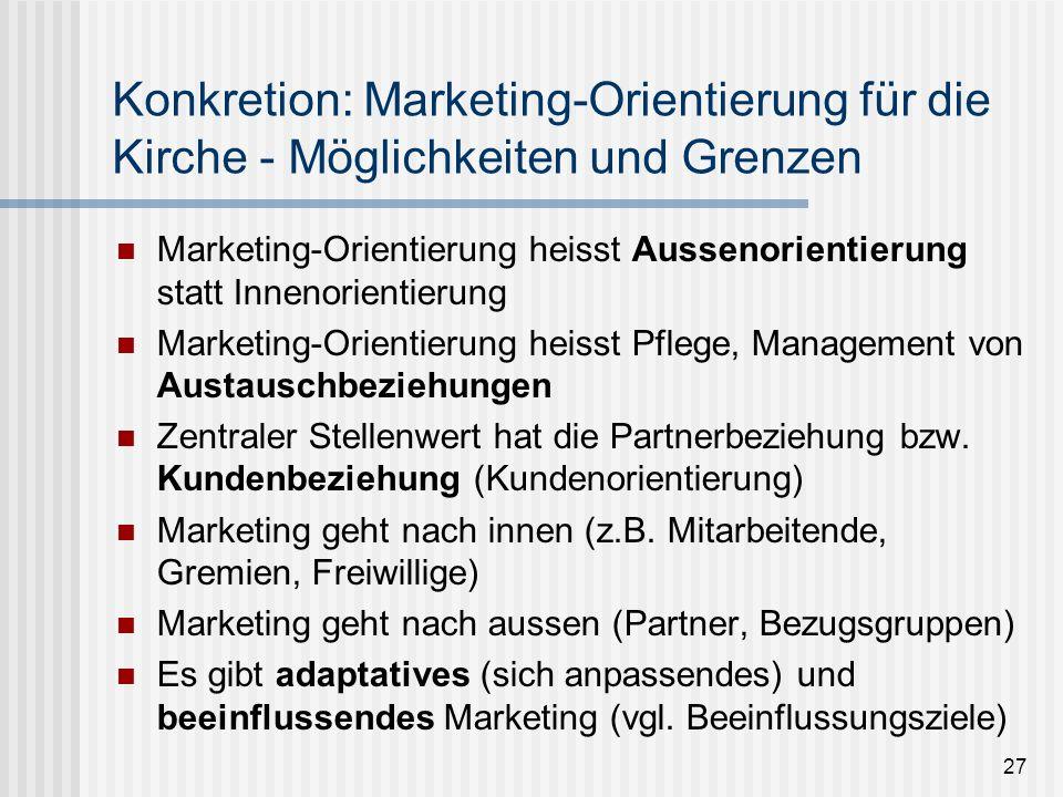 27 Konkretion: Marketing-Orientierung für die Kirche - Möglichkeiten und Grenzen Marketing-Orientierung heisst Aussenorientierung statt Innenorientier
