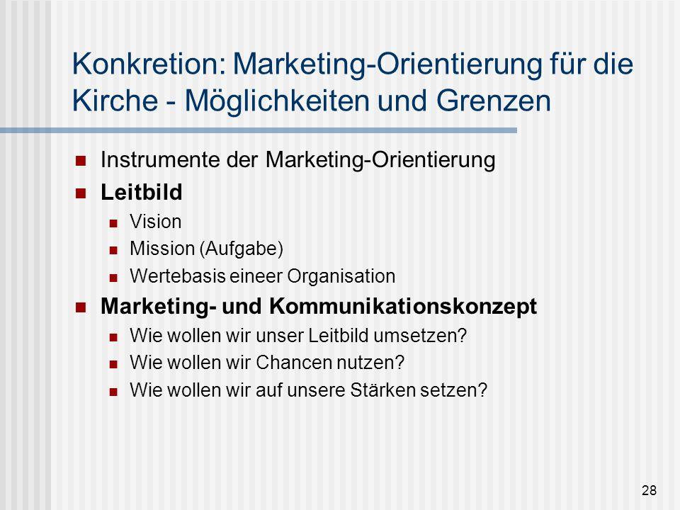 28 Konkretion: Marketing-Orientierung für die Kirche - Möglichkeiten und Grenzen Instrumente der Marketing-Orientierung Leitbild Vision Mission (Aufga