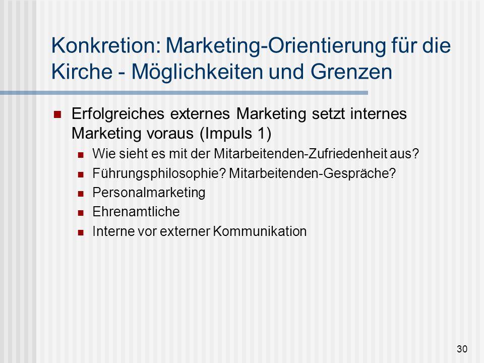 30 Konkretion: Marketing-Orientierung für die Kirche - Möglichkeiten und Grenzen Erfolgreiches externes Marketing setzt internes Marketing voraus (Imp