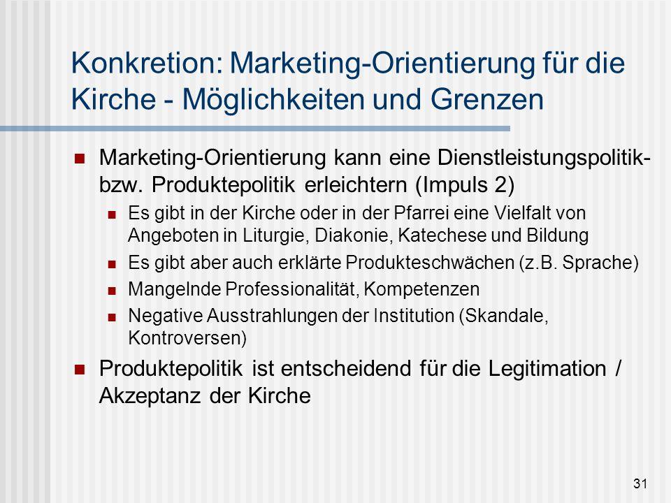31 Konkretion: Marketing-Orientierung für die Kirche - Möglichkeiten und Grenzen Marketing-Orientierung kann eine Dienstleistungspolitik- bzw. Produkt