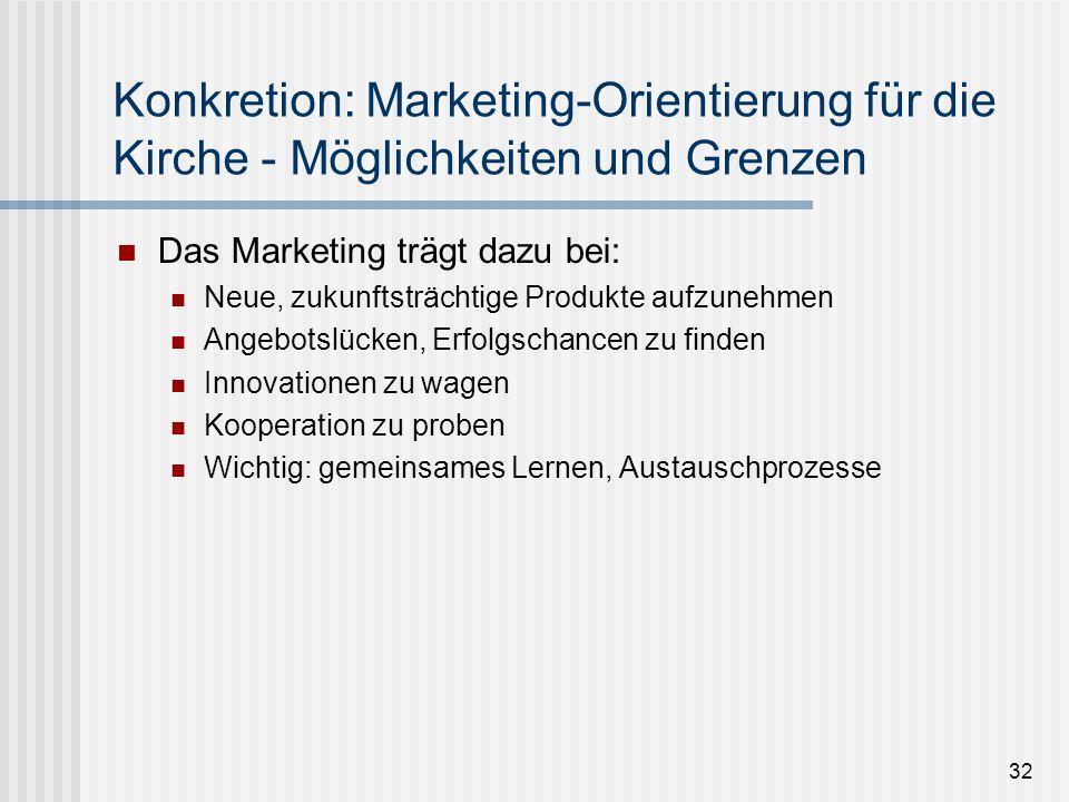 32 Konkretion: Marketing-Orientierung für die Kirche - Möglichkeiten und Grenzen Das Marketing trägt dazu bei: Neue, zukunftsträchtige Produkte aufzun
