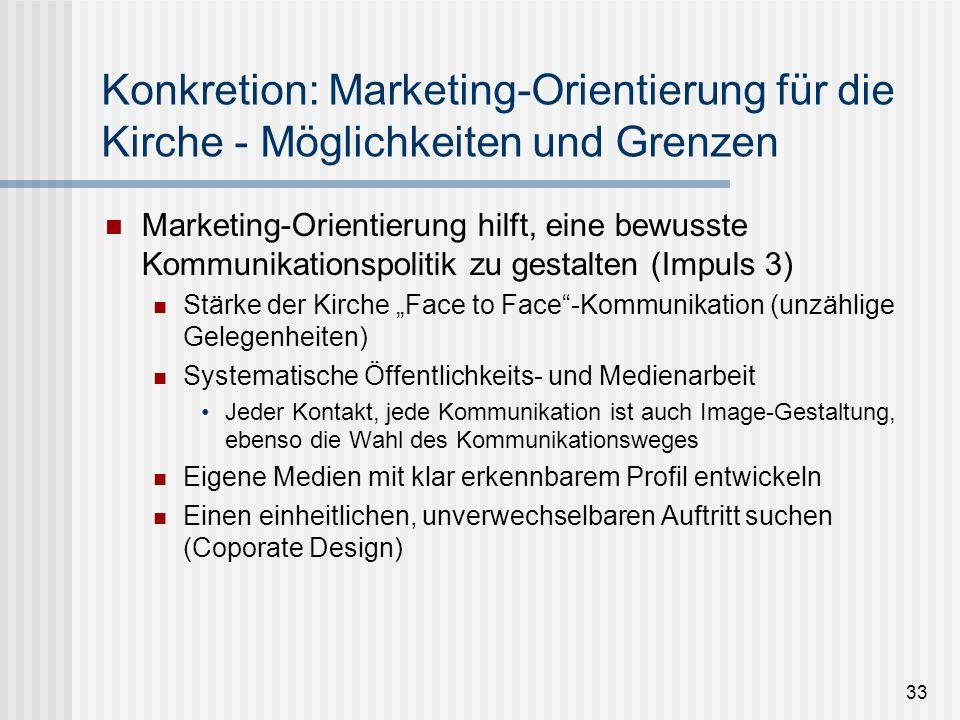 33 Konkretion: Marketing-Orientierung für die Kirche - Möglichkeiten und Grenzen Marketing-Orientierung hilft, eine bewusste Kommunikationspolitik zu