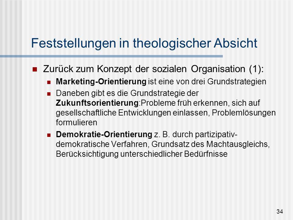 34 Feststellungen in theologischer Absicht Zurück zum Konzept der sozialen Organisation (1): Marketing-Orientierung ist eine von drei Grundstrategien
