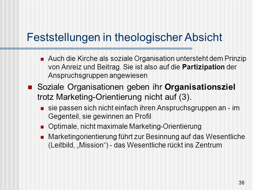 36 Feststellungen in theologischer Absicht Auch die Kirche als soziale Organisation untersteht dem Prinzip von Anreiz und Beitrag. Sie ist also auf di