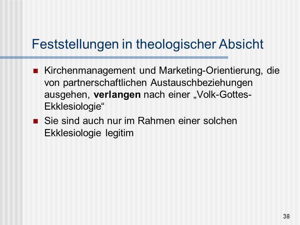 38 Feststellungen in theologischer Absicht Kirchenmanagement und Marketing-Orientierung, die von partnerschaftlichen Austauschbeziehungen ausgehen, ve