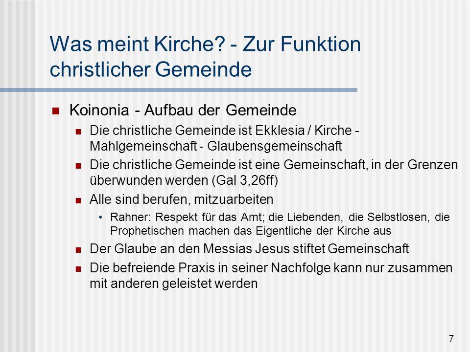 7 Was meint Kirche? - Zur Funktion christlicher Gemeinde Koinonia - Aufbau der Gemeinde Die christliche Gemeinde ist Ekklesia / Kirche - Mahlgemeinsch
