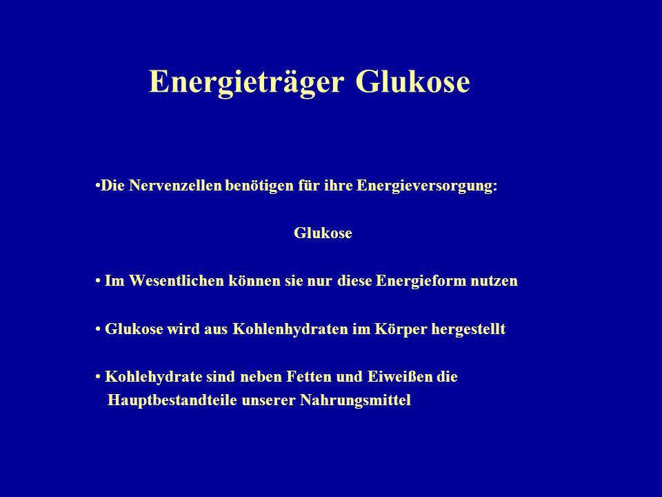 Energieträger Glukose Die Nervenzellen benötigen für ihre Energieversorgung: Glukose Im Wesentlichen können sie nur diese Energieform nutzen Glukose wird aus Kohlenhydraten im Körper hergestellt Kohlehydrate sind neben Fetten und Eiweißen die Hauptbestandteile unserer Nahrungsmittel