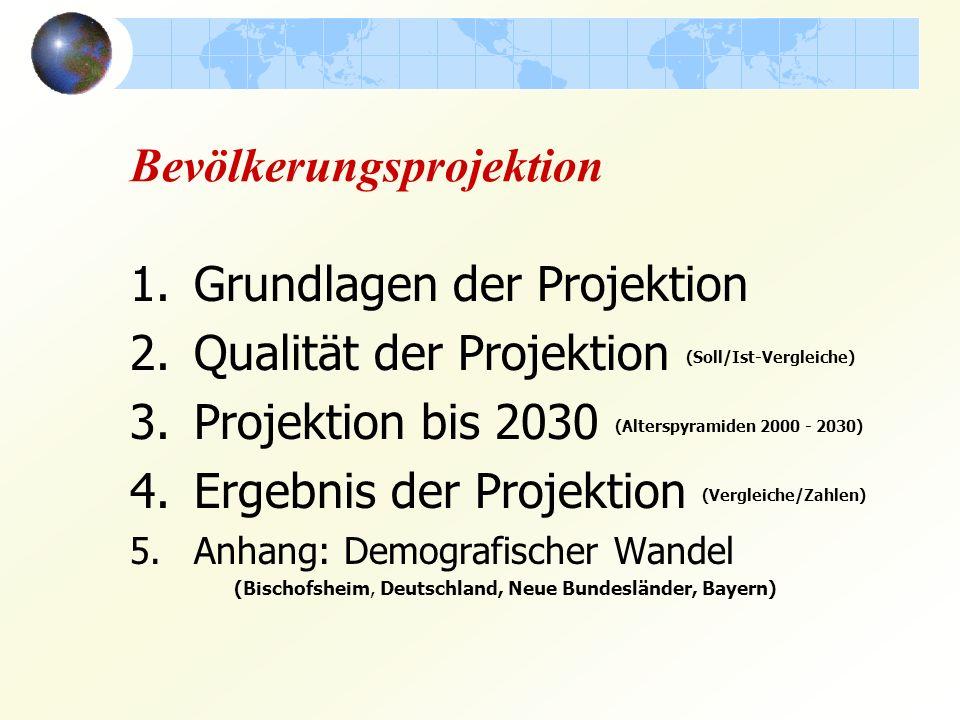 Bevölkerungsprojektion 1.Grundlagen der Projektion 2.Qualität der Projektion (Soll/Ist-Vergleiche) 3.Projektion bis 2030 (Alterspyramiden 2000 - 2030) 4.Ergebnis der Projektion (Vergleiche/Zahlen) 5.Anhang: Demografischer Wandel (Bischofsheim, Deutschland, Neue Bundesländer, Bayern)