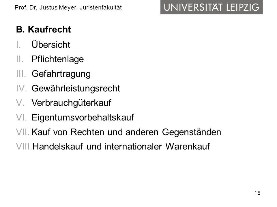 15 Prof. Dr. Justus Meyer, Juristenfakultät B. Kaufrecht I.Übersicht II.Pflichtenlage III.Gefahrtragung IV.Gewährleistungsrecht V.Verbrauchgüterkauf V