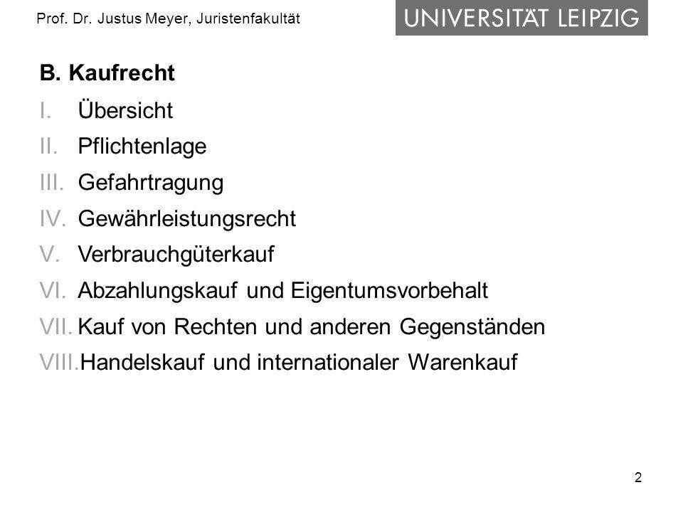 2 Prof. Dr. Justus Meyer, Juristenfakultät B. Kaufrecht I.Übersicht II.Pflichtenlage III.Gefahrtragung IV.Gewährleistungsrecht V.Verbrauchgüterkauf VI