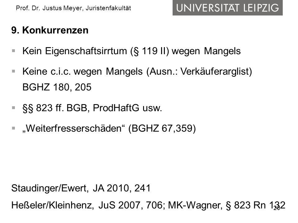 20 Prof. Dr. Justus Meyer, Juristenfakultät 9. Konkurrenzen Kein Eigenschaftsirrtum (§ 119 II) wegen Mangels Keine c.i.c. wegen Mangels (Ausn.: Verkäu