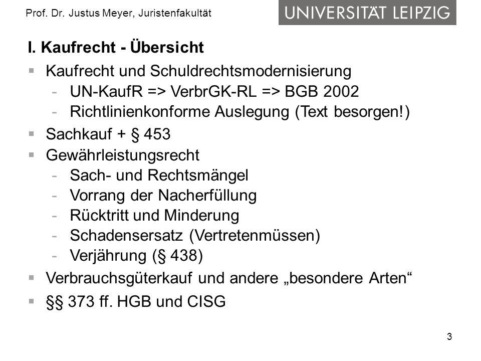 3 Prof. Dr. Justus Meyer, Juristenfakultät I. Kaufrecht - Übersicht Kaufrecht und Schuldrechtsmodernisierung -UN-KaufR => VerbrGK-RL => BGB 2002 -Rich