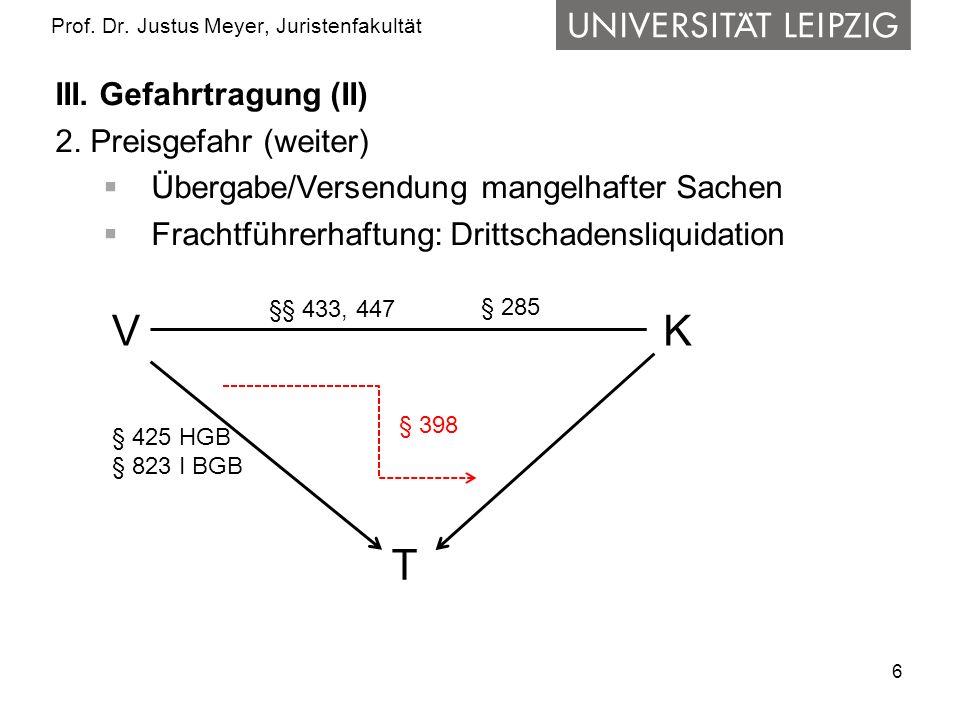 6 Prof. Dr. Justus Meyer, Juristenfakultät III. Gefahrtragung (II) 2. Preisgefahr (weiter) Übergabe/Versendung mangelhafter Sachen Frachtführerhaftung