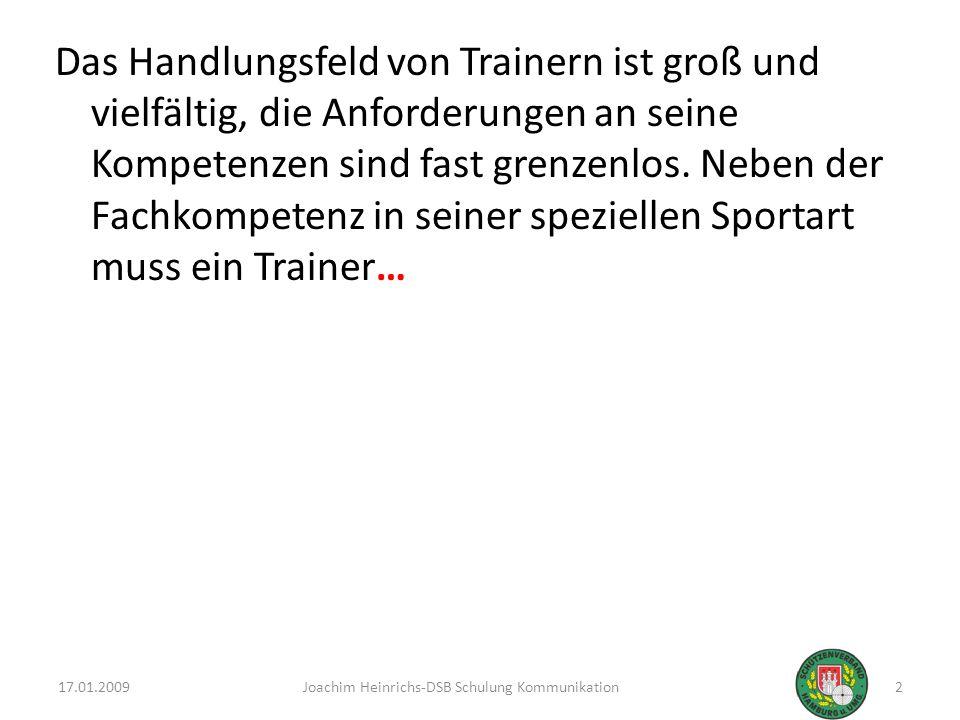 Das Handlungsfeld von Trainern ist groß und vielfältig, die Anforderungen an seine Kompetenzen sind fast grenzenlos. Neben der Fachkompetenz in seiner