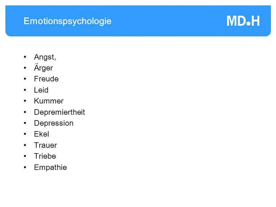 Emotionspsychologie Angst, Ärger Freude Leid Kummer Depremiertheit Depression Ekel Trauer Triebe Empathie