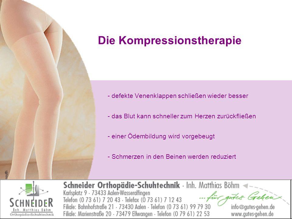 Die Kompressionstherapie - defekte Venenklappen schließen wieder besser - das Blut kann schneller zum Herzen zurückfließen - einer Ödembildung wird vo