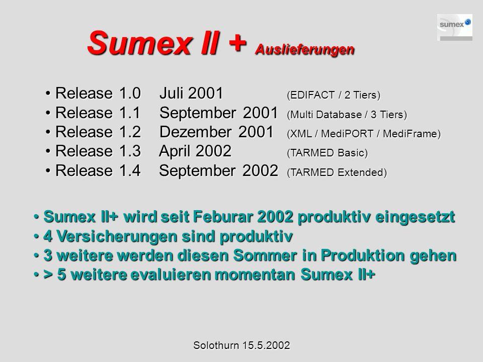Sumex II + Auslieferungen Release 1.0 Juli 2001 (EDIFACT / 2 Tiers) Release 1.0 Juli 2001 (EDIFACT / 2 Tiers) Release 1.1 September 2001 (Multi Databa