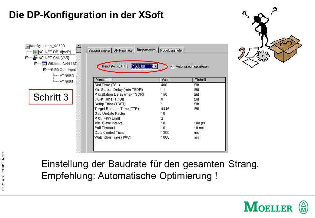 Schutzvermerk nach DIN 34 beachten Schritt 4 Auswählen der Slave- Teilnehmer am Strang Die DP-Konfiguration in der XSoft