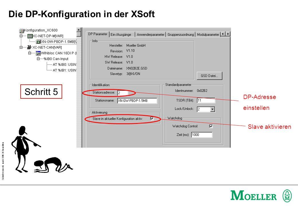 Schutzvermerk nach DIN 34 beachten Schritt 6 Module auswählen Doppelklick Die DP-Konfiguration in der XSoft