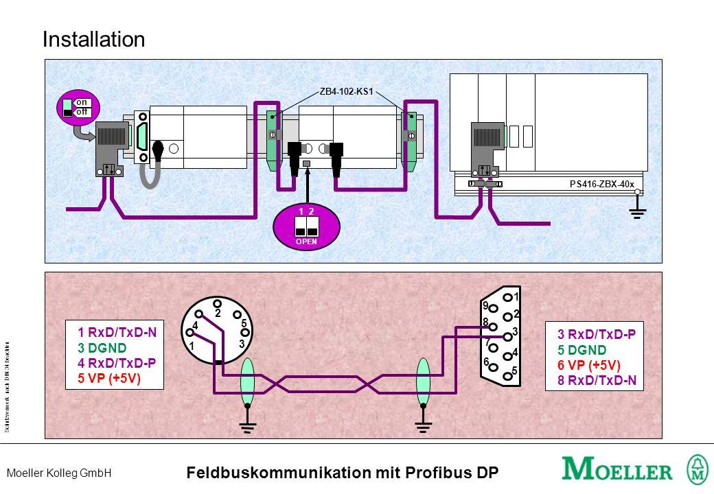 Schutzvermerk nach DIN 34 beachten Moeller Kolleg GmbH Feldbuskommunikation mit Profibus DP Beispiel Reaktionszeit T Reak = 1 x T Bus + 2 x T CPU + 1