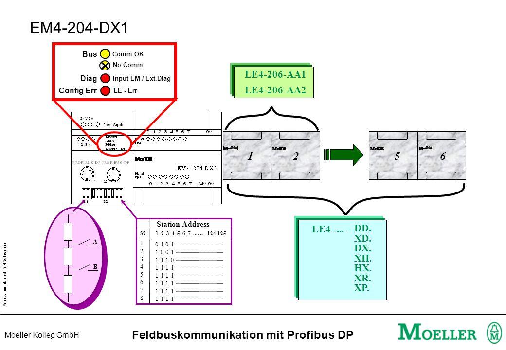 Schutzvermerk nach DIN 34 beachten Moeller Kolleg GmbH Feldbuskommunikation mit Profibus DP Installation 1 RxD/TxD-N 3 DGND 4 RxD/TxD-P 5 VP (+5V) 3 R
