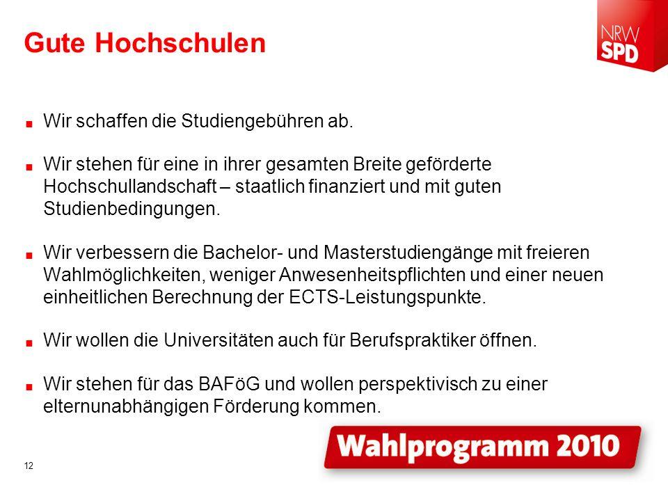 Gute Hochschulen Wir schaffen die Studiengebühren ab.