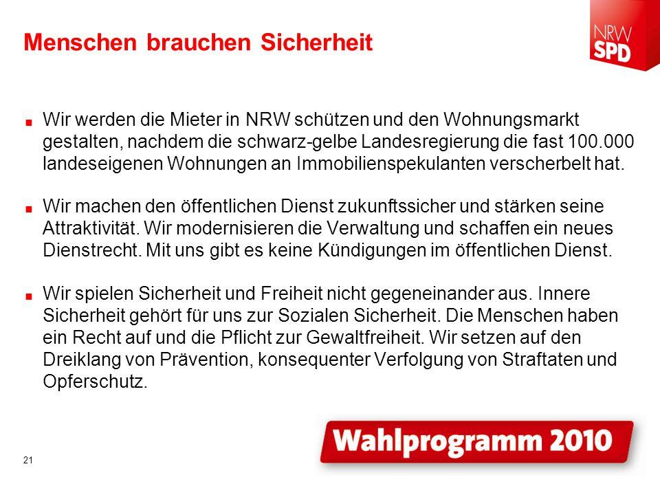 Menschen brauchen Sicherheit Wir werden die Mieter in NRW schützen und den Wohnungsmarkt gestalten, nachdem die schwarz-gelbe Landesregierung die fast 100.000 landeseigenen Wohnungen an Immobilienspekulanten verscherbelt hat.