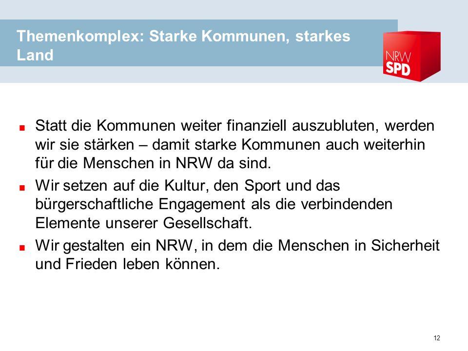 Themenkomplex: Starke Kommunen, starkes Land Statt die Kommunen weiter finanziell auszubluten, werden wir sie stärken – damit starke Kommunen auch weiterhin für die Menschen in NRW da sind.