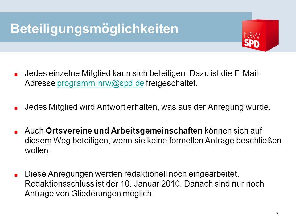 3 Beteiligungsmöglichkeiten Jedes einzelne Mitglied kann sich beteiligen: Dazu ist die E-Mail- Adresse programm-nrw@spd.de freigeschaltet.programm-nrw@spd.de Jedes Mitglied wird Antwort erhalten, was aus der Anregung wurde.