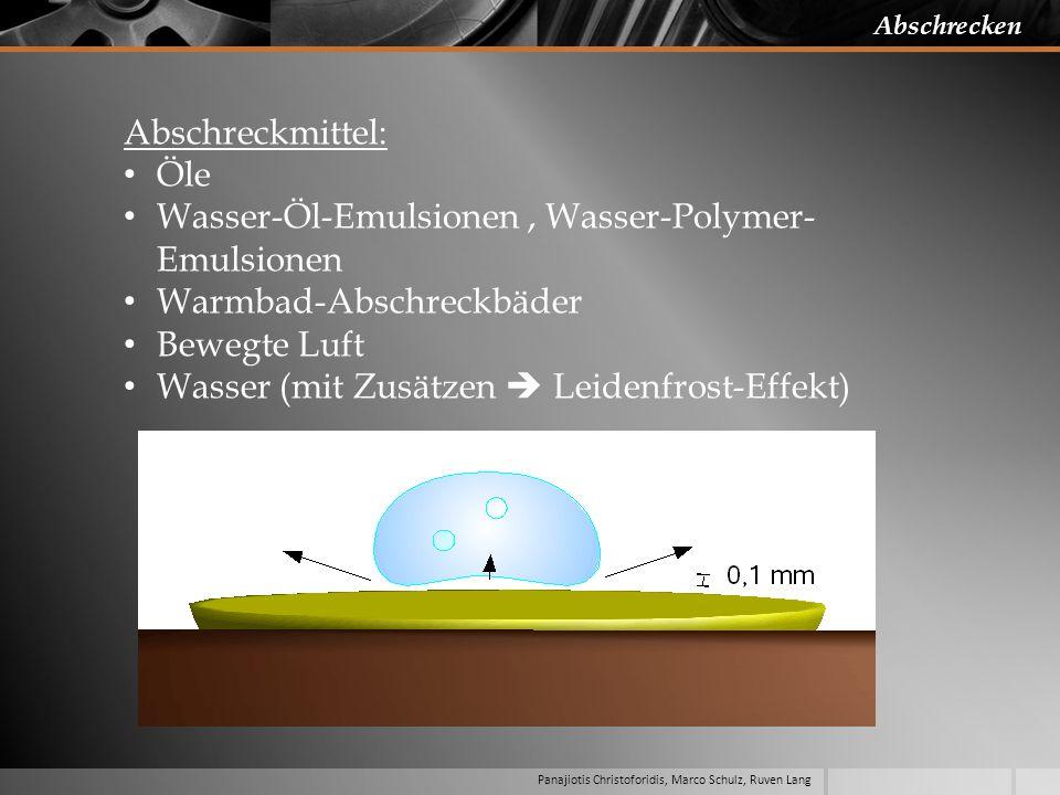 Panajiotis Christoforidis, Marco Schulz, Ruven Lang Abschrecken Abschreckmittel: Öle Wasser-Öl-Emulsionen, Wasser-Polymer- Emulsionen Warmbad-Abschrec