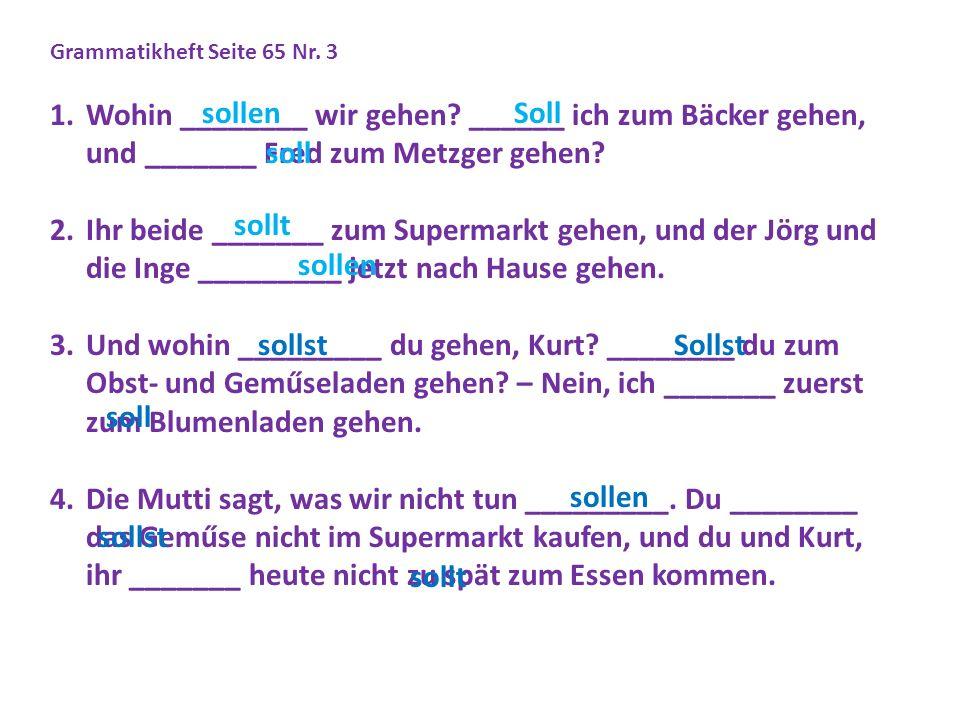 Grammatikheft Seite 65 Nr. 3 1.Wohin ________ wir gehen.