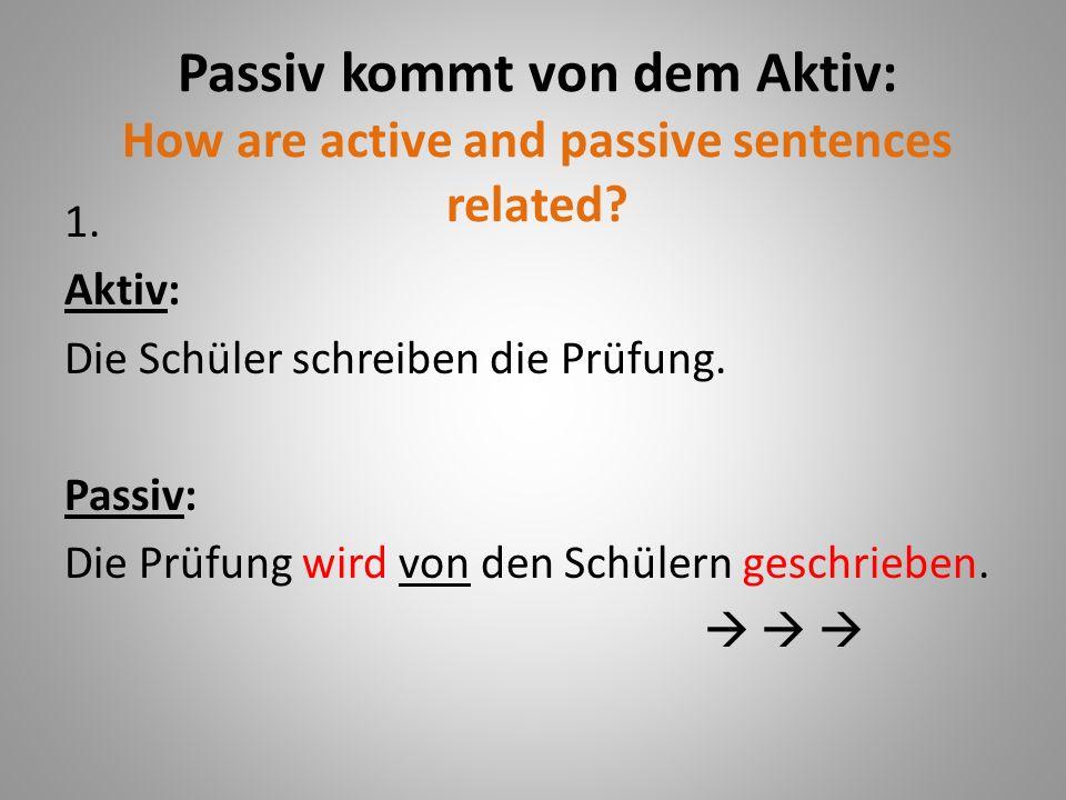 Passiv kommt von dem Aktiv: How are active and passive sentences related.