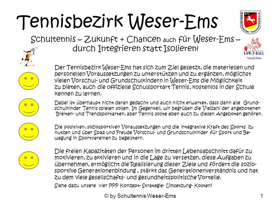 © by Schultennis Weser-Ems1 Tennisbezirk Weser-Ems Schultennis – Zukunft + Chancen auch für Weser-Ems – durch Integrieren statt Isolieren.