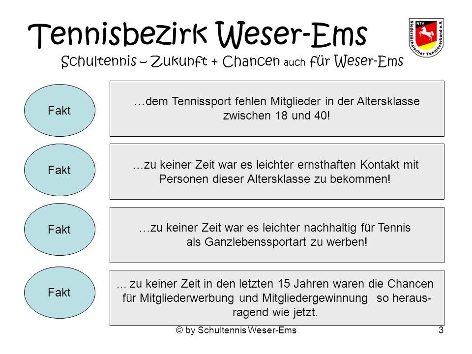 © by Schultennis Weser-Ems3 Tennisbezirk Weser-Ems Schultennis – Zukunft + Chancen auch für Weser-Ems …dem Tennissport fehlen Mitglieder in der Altersklasse zwischen 18 und 40.