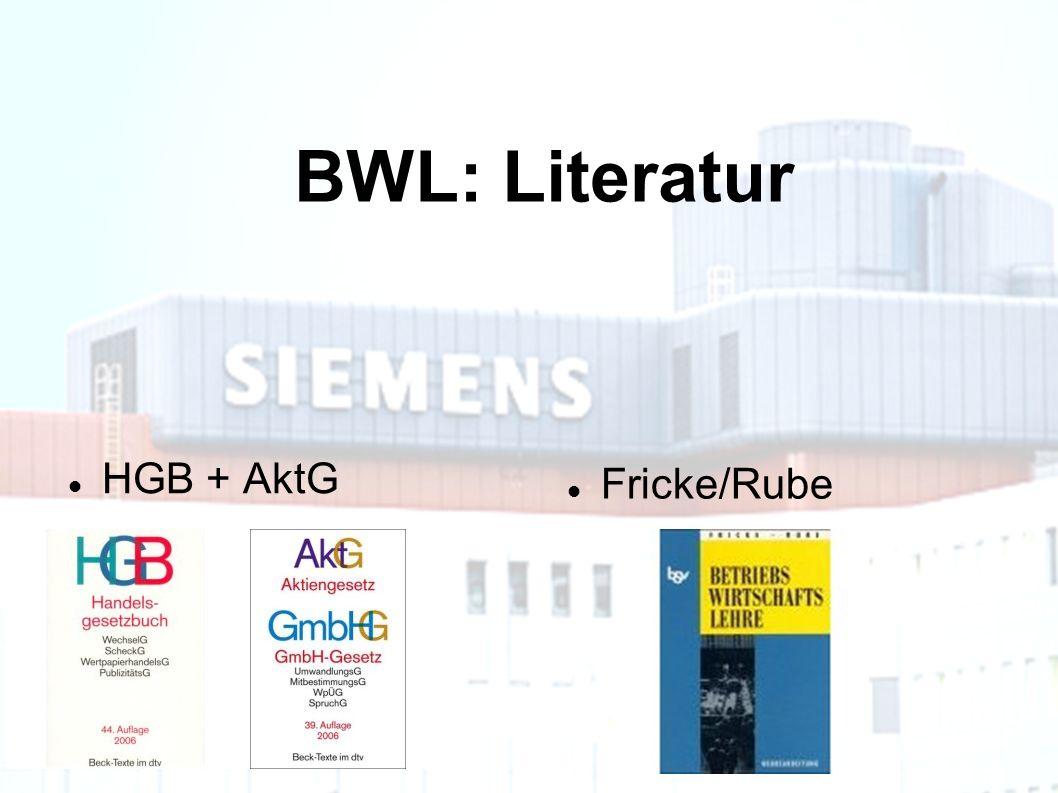 BWL: Literatur HGB + AktG Fricke/Rube