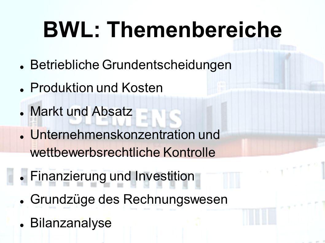 BWL: Themenbereiche Betriebliche Grundentscheidungen Produktion und Kosten Markt und Absatz Unternehmenskonzentration und wettbewerbsrechtliche Kontrolle Finanzierung und Investition Grundzüge des Rechnungswesen Bilanzanalyse