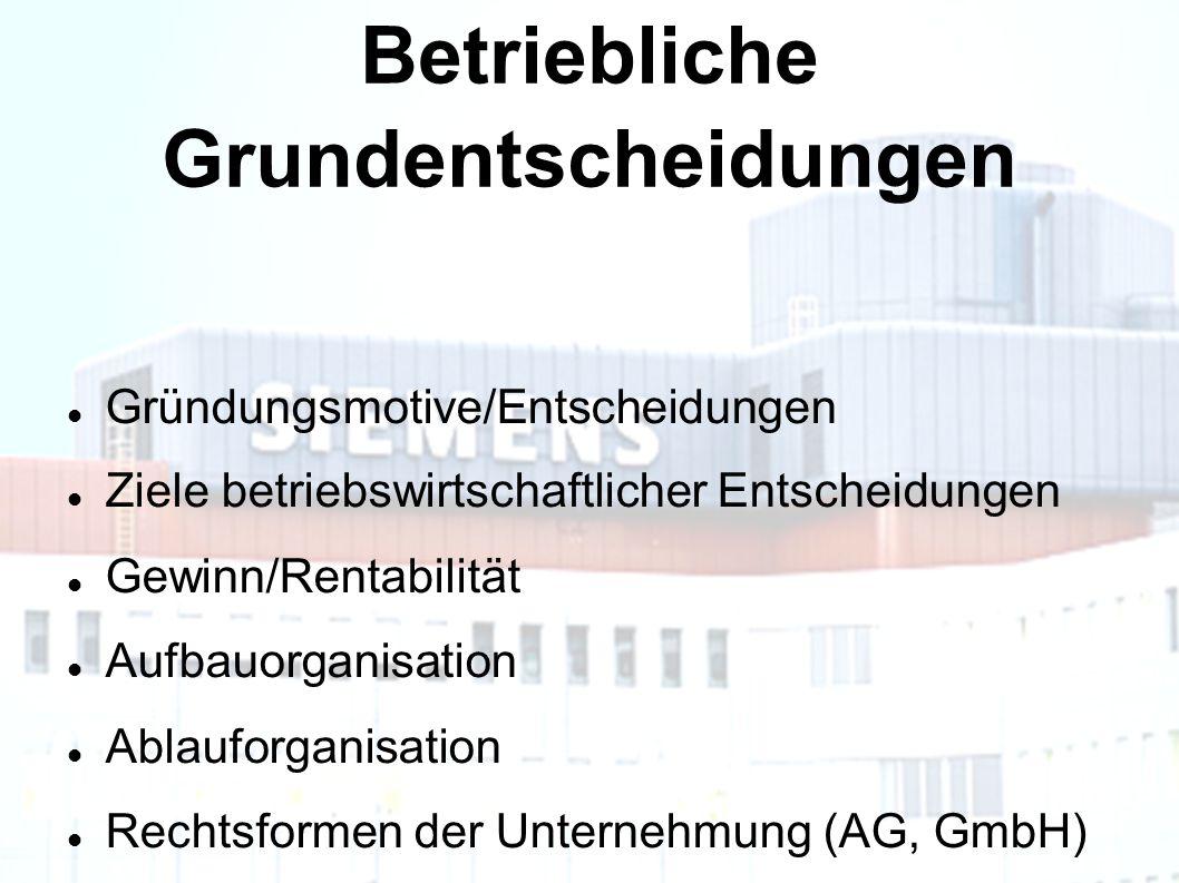 Betriebliche Grundentscheidungen Gründungsmotive/Entscheidungen Ziele betriebswirtschaftlicher Entscheidungen Gewinn/Rentabilität Aufbauorganisation Ablauforganisation Rechtsformen der Unternehmung (AG, GmbH)